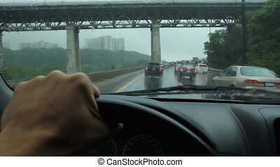 Rainy drive Toronto. DVP & Bridge.