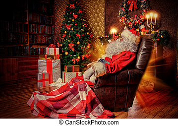 saint nicholas - Santa Claus brought gifts for Christmas and...