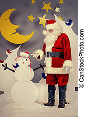 snowmans santa - Santa Claus in a cartoon fairy snowy forest...
