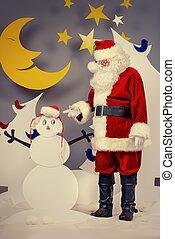 snowmans santa - Santa Claus in a cartoon fairy snowy...