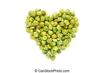 Love green ,heart shape from dry green pea isolated on white...