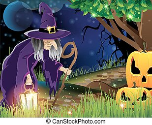 Wicked witch and Jack O lanterns - Wicked witch with a...