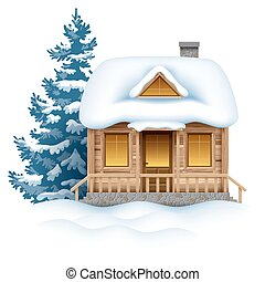 Winter house - Cute wooden house in snow. Vector image.