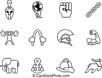 Strength icon set - Strength concept icon set of icons...