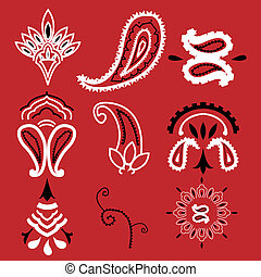 Bandana paisley - Nine elements commonly used for a...