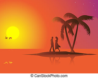 Summer couple - A lonely couple in love on a small island...