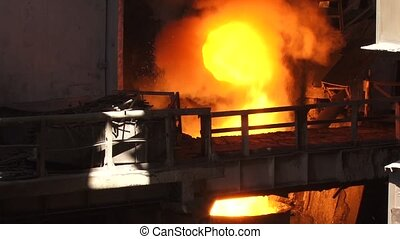 View metallurgical plant fire - Metallurgical industry,...