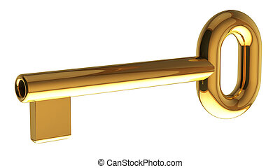 Golden Key - golden key 3d rendering with clipping path