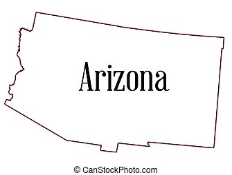 Arizona - Outline map of the state of Arizona on a white...