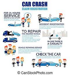 Insurance car crash ,Cartoon Characters infographic