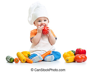 baby preparing healthy food isolated - baby boy preparing...