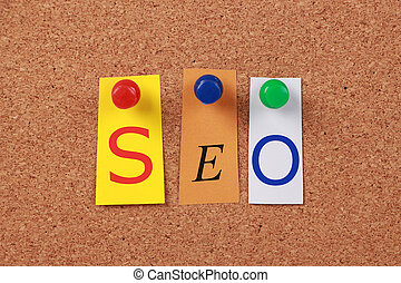 SEO Single Word - The word SEO in cut out magazine letters...