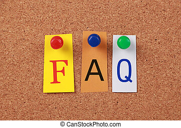 FAQ Single Word - The word FAQ in cut out magazine letters...