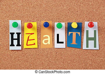 Health Single Word - The word Health in cut out magazine...