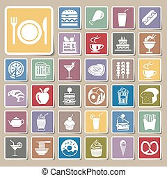 vector menu food and drink icons Sticker set