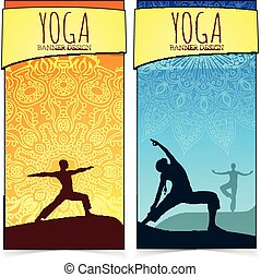 Yoga banner collection - Ethnic ornament and human...