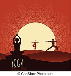 Yoga background - Ethnic ornament and human silhouette Eps...