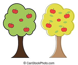 Apple Trees - Abstract Retro Apples Comic Trees Vector...