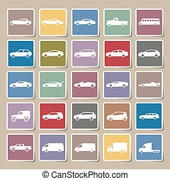 Cars icons Sticker set ,vector EPS10