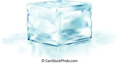 ice cube half side view vector illustration