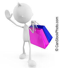 White character with shopping bag