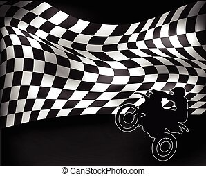 checkered flag and motorbike - checkered flag with wheelie...