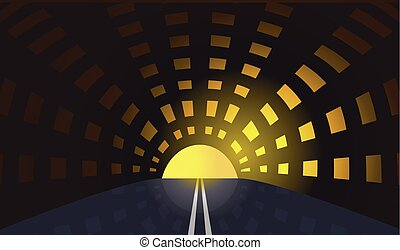 road and tunnel vector conceptual background