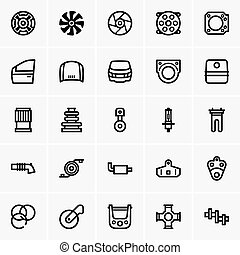 Car parts icons - Set of Car parts icons