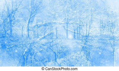 Winter Dream - Winter scenery background loop with falling...