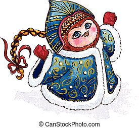 Owl Snow-maiden in coat character Vector Watercolor isolated...