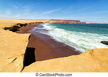 Red Beach at Paracas - Red sandy beach called Playa Colorada...
