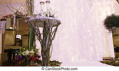 Wedding ceremony decor - Festively decorated hall for...