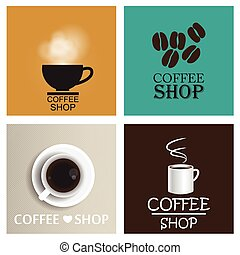 Coffee shop vintage vector set EPS10