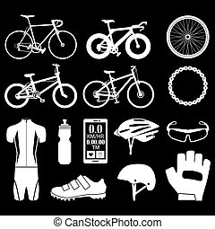 Bicycle icons set EPS10