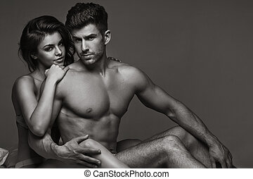 Black and white picture of sensual couple - Blackwhite...