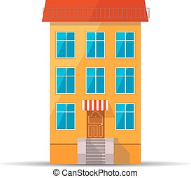Flat colourful icon of retro house with red roof - Flat...