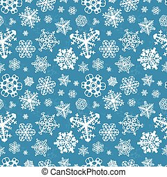 Different modern snowflakes on blue background seamless...