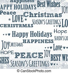 Winter Background with Holiday Greetings - Winter Snowflake...