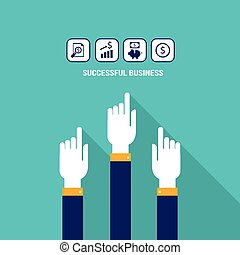Businessman hand and web icons
