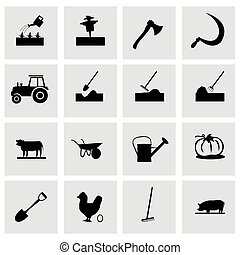 Vector farming icon set on grey background