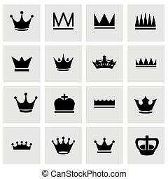 Vector crown icon set