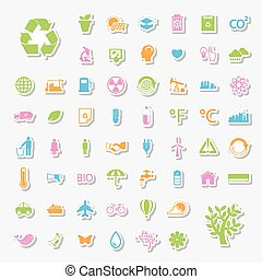 Ecology and Recycle icons set