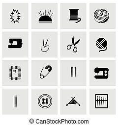 Vector sewing icon set on grey background