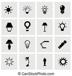 Vector light icon set on grey background