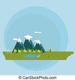 Flat design vector concept illustration - Environment, green ene