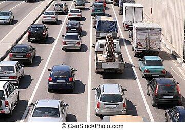 coche, ciudad, tráfico