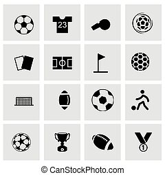 Vector soccer icon set on grey background