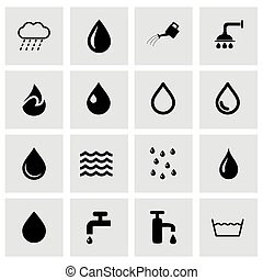 Vector water icon set on grey background