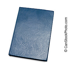 Blue closed book isolated over white background. View from...