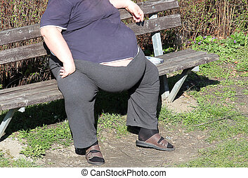 Obesity - fat man on a bench